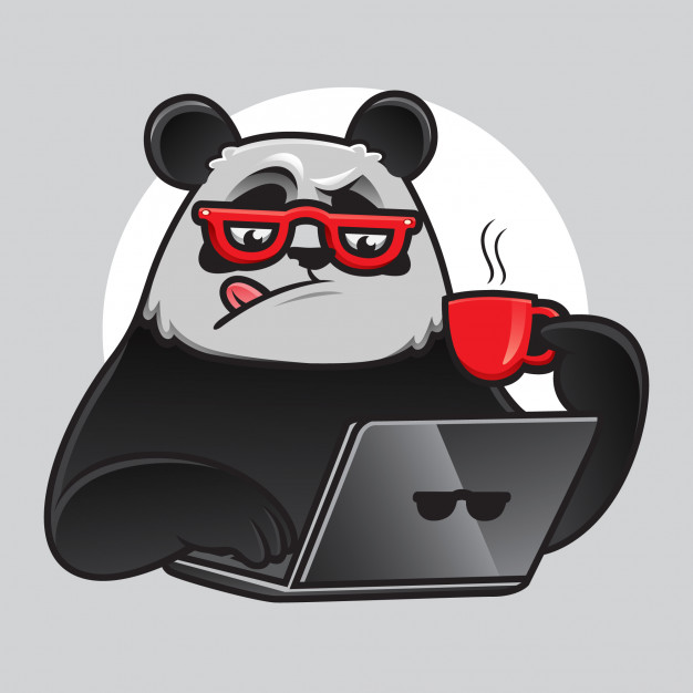 geek-panda-working-with-laptop-coffee