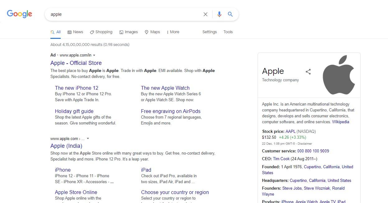 apple google search