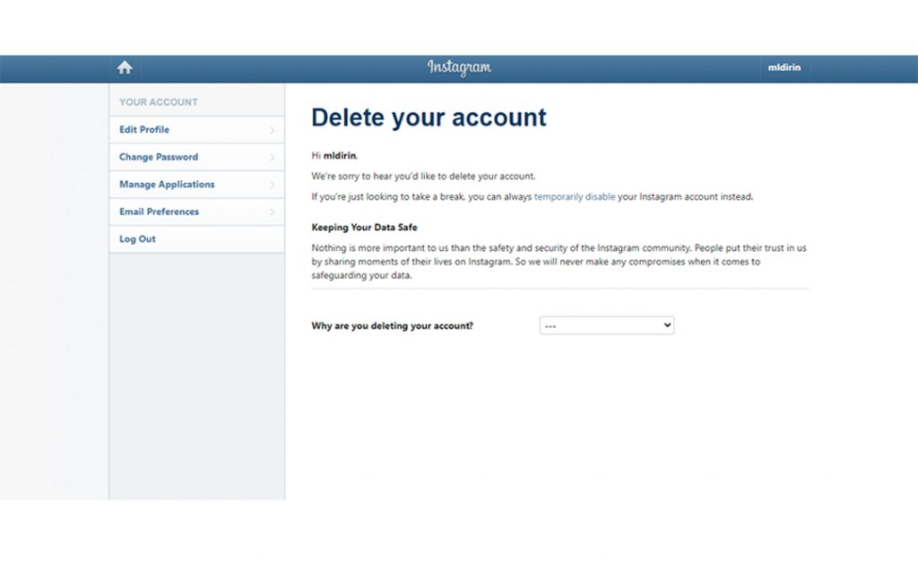 Permanently Delete Instagram Account